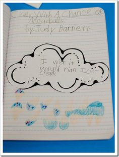 "Weather: Cloudy w/ a Chance of Meatballs and pretended, ""what if?!""  We used the sentence prompt, ""I wish it would rain…"" to add another entry to our Reader's Response journals."