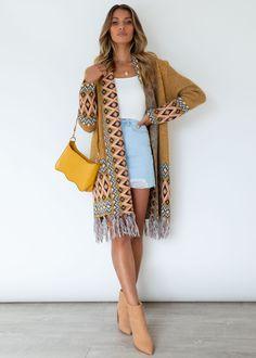 Sharna Boho Cardi - Mustard Cold Hands, Knit Cardigan, Gingham, Mustard, Kimono Top, Style Inspiration, Boho, Knitting, Stylish