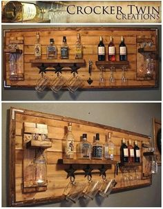How to make a DIY Pallet Bar? - Diana Phoneix How to make a DIY Pallet Bar? - Is it your friend's birthday or some big event coming up in few days? If yes and you wanted to surprise him then making a DIY pallet bar is a great . Bar Pallet, Pallet Walls, Pallet Ideas For Walls, Amazing Pallet Ideas, Pallet Wine Rack Diy, Rustic Wine Racks, Homemade Bar, Home Bar Designs, Diy Holz