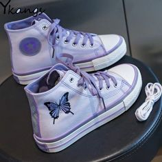 Purple Kawaii Butterfly Embroidery Canvas Sneakers · KoKo Fashion · Online Store Powered by Storenvy Butterfly Shoes, Butterfly Canvas, Purple Butterfly, Black Gothic Dress, Purple Shoes, Purple Converse, Purple Sneakers, Converse Shoes, Nike Shoes