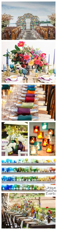 Bold Bohemian Wedding in Jewel Tones with Colorful Glass