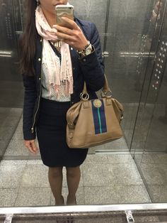 Fall outfit ideas: Look cool when its cool outside // Quilted Jacket - ZARA, Polka Dot Blouse - ZARA, Navy Pencil Skirt - Mango, Scarf - Forever 21, Handbag - Tommy Hilfiger