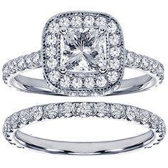 14k or 18k White Gold 2 3/4ct TDW Diamond Encrusted Princess-cut Engagement Ring Set (18k Gold - Size 5.5), Women's (solid)