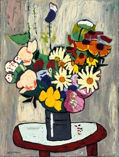 Flowers, 1939-1940, William H. Johnson, 1970, oil on plywood, 33 1/2 x 25 3/8 in. (85.0 x 64.5 cm.), Smithsonian American Art Museum, Gift of the Harmon Foundation, 1967.59.602