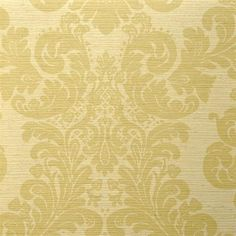Yellow and Green Textured Damask Wallpaper