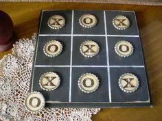 Primitive Handmade Game Boards | Xs and Os Bottle Cap Game Board-primitive gameboards, prim, bottle ...