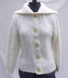 1950s White Poodle - Fur Effect Wool Cardigan by TheLazyGirlsWardrobe on Etsy