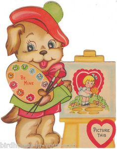Vintage Valentine Card Dressed Cocker Spaniel Dog Artist Easel Back Die-Cut Kids