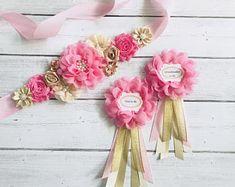 Pink and Gold Maternity Sash, Flower Sash, Reveal Party, Baby Shower , Gift, Keepsake, Photo Prop, Flower Girl Sash