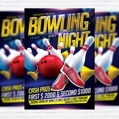 Bowling Night - Premium Flyer Template + Facebook Cover http://exclusiveflyer.net/product/bowling-night-premium-flyer-template-facebook-cover/