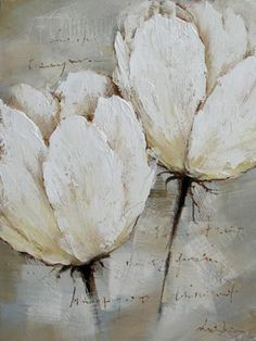 Yosemite Home Decor FC2627-2 White Roses 2 Hand Painted Contemporary Artwork YM-FC2627-2