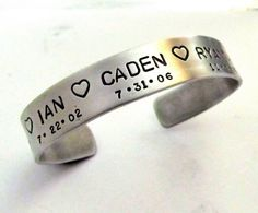 For me!  Cuff Bracelet - Personalized Hand Stamped Jewelry - Mom bracelet withchilren's names and birthdates. $21.00, via Etsy.