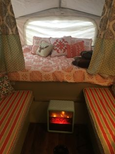 The Southern Glamper: Duraflame Cube Heater - Adding Warmth and Ambiance to Your Pop Up Camper Truck Camper, Camper Trailers, Popup Camper Remodel, Camper Renovation, Pop Up Tent Trailer, Hippie Camper, Camping Glamping, Camping Items, Camping Stuff