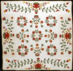"Elizabeth Neff quilt called ""Red and Green Appliqué Christmas Quilt"