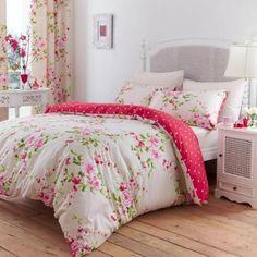 Catherine-Lansfield-Canterbury-Bettwsche-Garnitur-Blumenmotiv-Rot