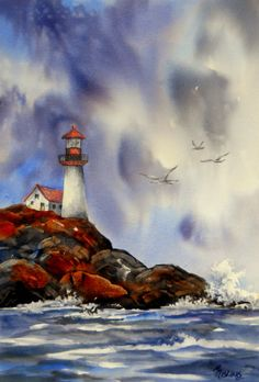 Creative Painting by Martha Kisling: A Lighthouse, Seagulls and Stormy Skies