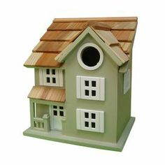 "Offer feathered friends a cozy abode with this beautifully crafted birdhouse, showcasing a pine-shingled roof and weather-resistant finish.       Product: Birdhouse  Construction Material: Exterior grade ply-board, kiln-dried hardwoods, pine and polyresin, and western red cedar shingles  Color: Green and natural  Features:   Removable back walls for easy cleaning, ventilation and drainage  Unpainted interiors  1.25"" Hole openings designed to accommodate common cavity dwellers  Dimensions:…"