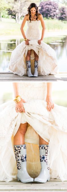 Cowgirl Bride showing off her wedding-ready boots! Be inspired for your own country wedding with the rest of the styled shoot here: http://issuu.com/weddingstar/docs/weddingstar-equestrian-love-lookbook