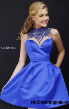 Beaded Bodice 2016 High Scoop Neck Sherri Hill 32288 Royal Sheer Short Pleated Homecoming Dresses Online Sale [Sherri Hill 32288 Royal] – $130.00 : 2016 Homecoming & Cocktail Dresses Online Sale|Outlet|Custom|Cheap