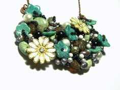 Turquoise Floral Bib Statement Necklace (109.99 USD) by LunaEssence
