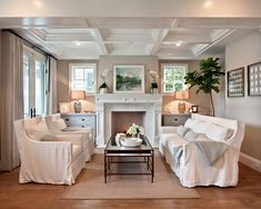 Coastal beach house slipcover living room