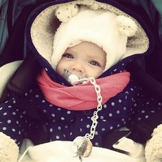Cute little baby with bear cap