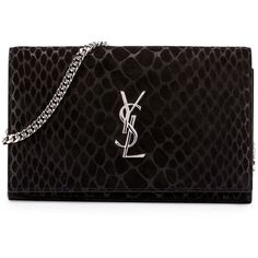 Saint Laurent Monogram Python-Stamped Wallet-on-Chain (6,060 AED) ❤ liked on Polyvore featuring bags, wallets, handbags, purses, ysl, black, python wallet, monogrammed wallet, python bag and logo bags