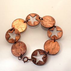 Shop for bracelet on Etsy, the place to express your creativity through the buying and selling of handmade and vintage goods. Diy Jewelry Necklace, Pagan Jewelry, Coin Jewelry, Jewelry Crafts, Jewelery, Penny Jewelry, Copper Jewelry, Gold Jewellery, Recycled Jewelry