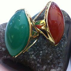 Anéis em Ágata Verde e Vermelha
