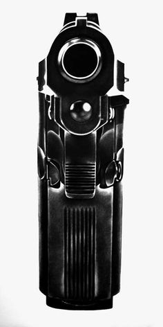 Robert Longo Charcoal Drawings 4 - a reference of drawing a gun facing straight on.