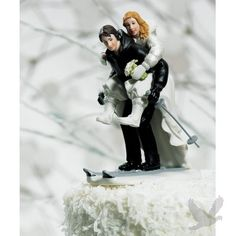 Winter Skiing Wedding Couple Cake Topper