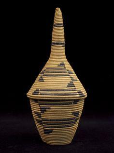 "Basket          Tutsi, Rwanda or Burundi   Grass and cotton thread   12"" (31 cm) high  Mid-20th century"