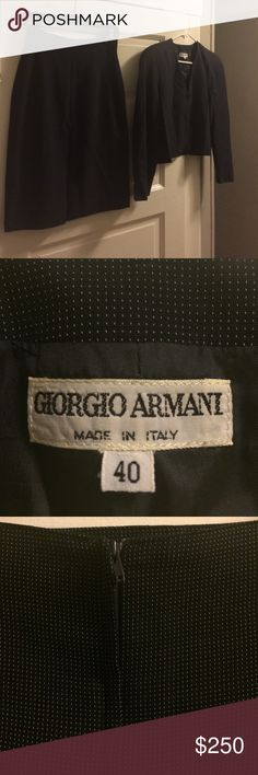 "Vintage Navy Giorgio Armani Skirt Suit Wonderful vintage condition. No damage or funny smells! Blazer measures 17"" across in bust. Skirt measures 13"" across in waist. Size 40/6. Made in Italy! Giorgio Armani Other"