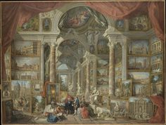 """Here is a typical exemple of Grand Tour work of art by Giovanni Paolo Pannini called """"Ancient Rome"""", painted in This is from the another version exist in the collection Big Canvas, Canvas Wall Art, Wall Art Prints, Canvas Prints, Art Pictures, Photos, Sistine Chapel Ceiling, Famous Art Pieces, Rome Antique"""