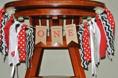 LADYBUG High Chair Birthday Banner First Birthday Red Rag Tie Garland Smash Cake Table Decor Photo Prop/Backdrop-Black/Red/Pink/White Banner by ScrapBugs on Etsy https://www.etsy.com/listing/227367130/ladybug-high-chair-birthday-banner-first