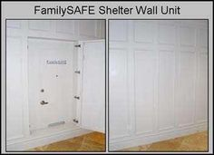 Hidden Safe Room This is also a storm shelter accessible from inside your home. Security Room, Diy Home Security, Hidden Compartments, Secret Compartment, Secret Space, Secret Rooms, Tornado Safe Room, Hidden Safe, Secret Hiding Places