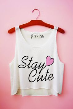 Stay Cute Heart Crop Tank Top on Wanelo