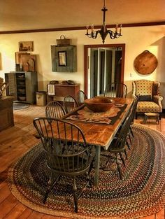 20 Modern Dining Room Ideas and Designs - Esszimmer Ideen Primitive Dining Rooms, Farmhouse Dining Room Table, Country Dining Rooms, Primitive Kitchen, Country Furniture, Country Decor, Dining Table, Ikea Dining, Primitive Homes