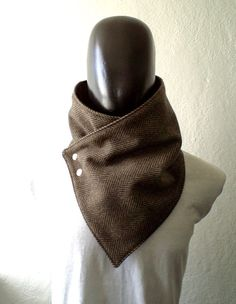 Men scarf Men cowlWide Black and brown herringbone by CheriDemeter, $32.50