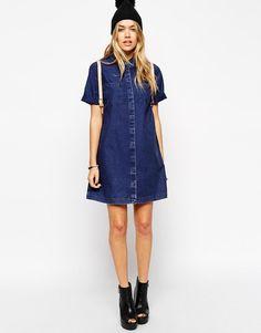 ASOS | ASOS Denim Shirt Dress with Patch Pocket at ASOS