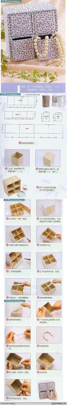 caixa gavetas by Luna13 Cardboard Recycling, Cardboard Box Crafts, Cardboard Furniture, Paper Toy, Diy Paper, Paper Crafts, Diy Arts And Crafts, Diy Crafts, Diy Box