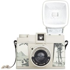Lomography Diana F+ Sahara White Camera (3.840 RUB) ❤ liked on Polyvore featuring camera, fillers, accessories, electronics, other, backgrounds, detail, embellishment and white and black