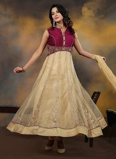 Buy Lustrous Net Anarkali Salwar Kameez Online Spread the air of freshness with this beige net anarkali salwar kameez showing a vibe of erotic nature. The alluring weaved and patch outskirt work all through the dress is amazing.