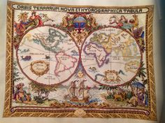 Olde world map cross stitch finished in 2014