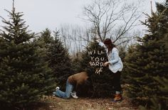 will you marry me sign Christmas Tree Farm, Proposal Ideas, Green Wedding Shoes, Marry Me, Thats Not My, Sign, Board, Creative, Signs