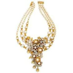 Pearl and Flower Statement Necklace