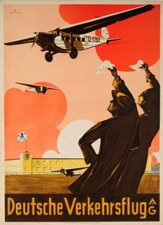 Deutsche Verkehrsflug AG Airline 1930s - original vintage poster listed on AntikBar.co.uk