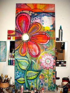 live in color I Love this! thanks Bev Davis for sharing! live in color I Love this! thanks Bev Davis for sharing! Pintura Graffiti, Illustration Photo, Garden Mural, Whimsical Art, Flower Art, Lotus Flower, Painting Inspiration, Altered Art, Painting & Drawing