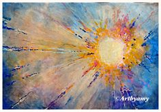 Sunburst.  12 x 18 acrylic on paper.  Paintings by Amy Anderson.