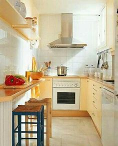Sensational Space-Saving Kitchens | Galley kitchens, Counter space ...